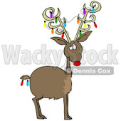 Clipart Illustration of Rudolph The Red Nosed Reindeer With Colorful Christmas Lights Decorating His Antlers And Tail © Dennis Cox #27013