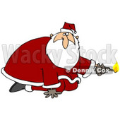 Clipart Illustration of Santa Claus Kneeling And Holding A Lit Match, Preparing To Light Something On Fire © Dennis Cox #27014