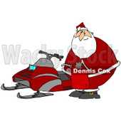Clipart Illustration of Santa Claus Holding A Gas Can And Standing By A Snowmobile After Running Out Of Gas © Dennis Cox #27015