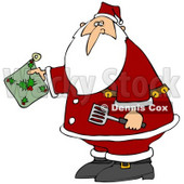 Clipart Illustration of Santa Claus Holding A Green Holly Hot Pad And Spatula In The Kitchen © djart #27017