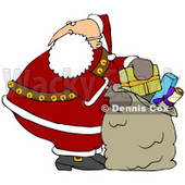 Clipart Illustration of Santa Claus Looking Over His Shoulder While Stuffing His Toy Sack Full Of Gifts © djart #27018