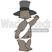 Clipart Illustration of a Happy Black New Year's Baby Wearing A Sash, Diaper And A Hat And Waving © Dennis Cox #27019