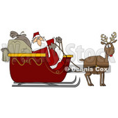Clipart Illustration of Rudolph The Red Nosed Reindeer Pulling Santa Claus And His Heavy Toy Sacks In A Red Sleigh © Dennis Cox #27020