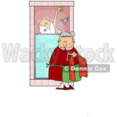 Clipart Illustration of Mrs Claus Bringing Santa A Towel While He Sings And Soaps Up In The Shower © djart #27256