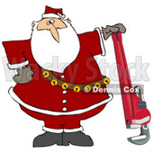 Clipart Illustration of Santa Claus In His Red Suit, Resting His Hand On Top Of A Pipe Wrench © djart #27257