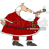 Clipart Illustration of Santa In A Suit, Blowing A Noise Maker At A New Year's Party © djart #27262