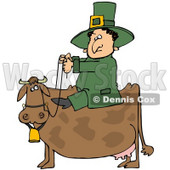 Clipart Illustration of a St Patricks Day Leprechaun In Green, Riding On A Brown Cow © Dennis Cox #27318