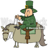 Clipart Illustration of a St Patricks Day Leprechaun In Green, Riding On A Chubby Horse © Dennis Cox #27319