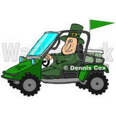 Clipart Illustration of a St Patrick's Day Leprechaun In Green, Driving A Mud Bug Atv With An Ice Chest In The Back © Dennis Cox #27320