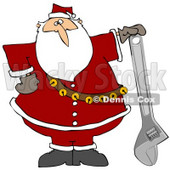 Clipart Illustration of Santa Claus In His Red Suit, Resting His Hand On Top Of An Adjustable Wrench © Dennis Cox #27321
