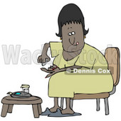 Clipart Illustration of a Diabetic Black Woman Sitting In A Chair At A Table And Pricking Her Finger With A Lancing Device For A Blood Sample © djart #27392
