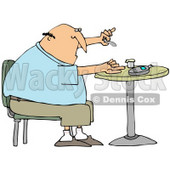 Clipart Illustration of a Diabetic White Man Sitting In A Chair At A Table And Pricking His Finger With A Lancing Device For A Blood Sample © Dennis Cox #27393