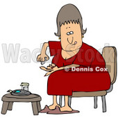 Clipart Illustration of a Diabetic White Woman In A Red Nightgown, Sitting In A Chair At A Table And Pricking Her Finger With A Lancing Device For A Blood Sample © djart #27394