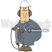 Clipart Illustration of a White Man In A Hardhat And Ear Muffs, Operating A Jackhammer At A Construction Site © Dennis Cox #27795