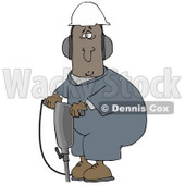 Clipart Illustration of a Black Man In A Hardhat And Ear Muffs, Operating A Jackhammer At A Construction Site © Dennis Cox #27796