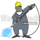 Clipart Illustration of a Black Man Wearing Goggles And A Hardhat, Spraying The Ground With A Heavy Duty Power Washer Machine © Dennis Cox #27797