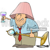 Clipart Illustration of a Snarling Drunk White Man With A Pink Lamp Shade On His Head, Holding A Light Fixture In One Hand And A Glass Of Wine In The Other © Dennis Cox #27799