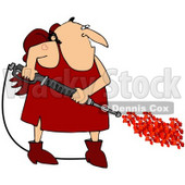 Clipart Illustration of a Chubby Cupid Man With A Red Heart Tattoo On His Arm, Operating A Power Washer, With Hearts Spraying Out Of The End © djart #27801