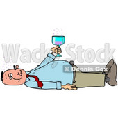 Clipart Illustration of a White Man Laying On His Back After Passing Out From Getting Too Drunk, Holding A Glass Of Alcohol Over His Belly © Dennis Cox #27826