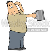 Clipart Illustration of a White Man Scratching His Head And Holding Out A Tin Cup, Hoping For Financial Assistance And Loans © Dennis Cox #27828