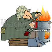 Clipart Illustration of a Homeless Caucasian Man Eating Beans Out Of The Can While Sitting Beside A Fire In A Trash Can © Dennis Cox #28208
