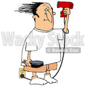 Clipart Illustration of a Man Standing By An Electrical Outlet, Holding A Brush And Blow Drying His Hair © djart #28224