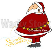 Clipart Illustration of Santa Writing Bah Humbug Text With His Yellow Urine In The Snow © Dennis Cox #28226