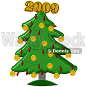 Clipart Illustration of a Golden New Year Of 2012 On Top Of A Christmas Tree © Dennis Cox #28264