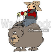 Clipart Illustration of a White Cowboy Man Riding On The Back Of A Bear, Symbolizing Control © djart #28668
