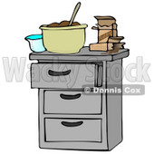 Clipart Illustration of a Measuring Cup And Pudding Boxes By A Mixing Bowl Of Chocolate Pudding On A Kitchen Island Counter © djart #28669
