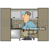 Clipart Illustration of a White Businessman Employee Working On A Computer In An Office Cubicle © Dennis Cox #28670
