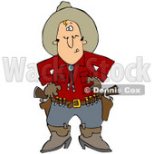Clipart Illustration of a White Cowboy In A Red Shirt, Standing At The Ready, Prepared To Pull Both Pistils In His Belt And Shoot © Dennis Cox #28672