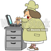 Clipart Illustration of a Chubby Female Chef In A Hat And Coat, Typing Her Recipes Into A Laptop And Putting Them On Her Internet Website © Dennis Cox #28673