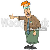 Clipart Illustration of a Geeky Red Haired Man In Glasses, Talking And Holding His Arm Out To The Left © djart #28754