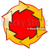 Clipart Illustration of a Circle Of Yellow Arrows Around A Red Center © Dennis Cox #28755