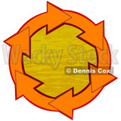 Clipart Illustration of a Circle Of Orange Arrows Around Orange Rippling Water © djart #28756