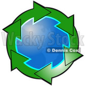 Clipart Illustration of Gradient Green Circle Of Arrows Around The American Continents On Planet Earth © Dennis Cox #28757