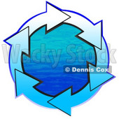 Clipart Illustration of a Circle Of Gradient White And Blue Arrows Around Blue Water © Dennis Cox #28758