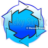Clipart Illustration of a Circle Of Gradient Blue And White Arrows Around A Gradient Blue Center © Dennis Cox #28759