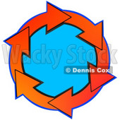 Clipart Illustration of a Circle Of Gradient Red And Orange Arrows Around Blue © djart #28760
