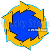 Clipart Illustration of a Circle Of Yellow Arrows Around A Blue Center © Dennis Cox #28761