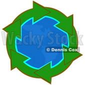 Clipart Illustration of a Circle Of Green Arrows Around The American Continents On Planet Earth © Dennis Cox #28762