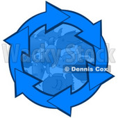 Clipart Illustration of Blue Arrows Circling Around Schooling Fish In The Deep Blue Sea © Dennis Cox #28763