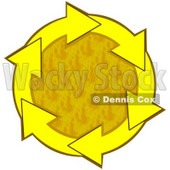 Clipart Illustration of a Circle Of Yellow Arrows Around A Textured Yellow Center © Dennis Cox #28765