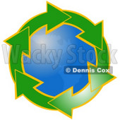 Clipart Illustration of Gradient Green Arrows Outlined In Yellow, Circling Around The American Continents Of Planet Earth © Dennis Cox #28766