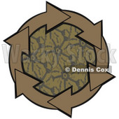 Clipart Illustration of a Circle Of Brown Arrows Around A Patterned Center © Dennis Cox #28785
