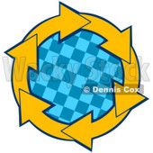 Clipart Illustration of a Circle Of Yellow Arrows Around A Blue Checkered Center © Dennis Cox #28790