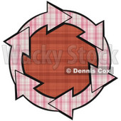 Clipart Illustration of a Circle Of Pink Plaid Arrows Around A Red Plaid Center © Dennis Cox #28792