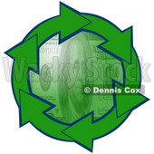 Clipart Illustration of a Circle Of Green Arrows Outlined In Blue, Around A Green 100 Dollar Bill Center © Dennis Cox #28794