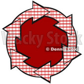 Clipart Illustration of a Circle Of Red And White Plaid Arrows Around A Solid Red Center © Dennis Cox #28798